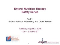 Enteral Nutrition Prescribing and Order Review